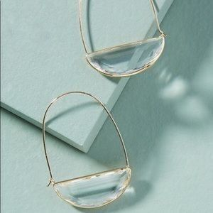 Anthropologie Crescent Hoop Earrings — NEW — Clear